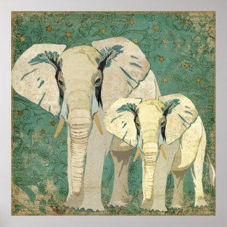 Poster da noite estrelado de elefantes brancos
