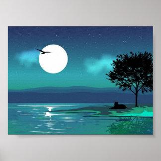 Poster da paisagem do vetor da noite
