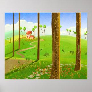 poster da paisagem dos desenhos animados