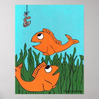 Poster da pesca do peixe dourado, decoração dos mi