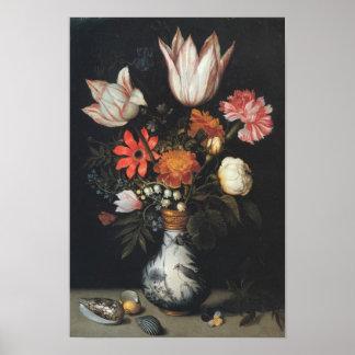 Poster da pintura do arranjo de flor das belas