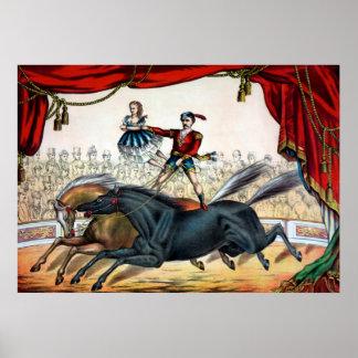 Poster da pintura do ato de circo do cavalo