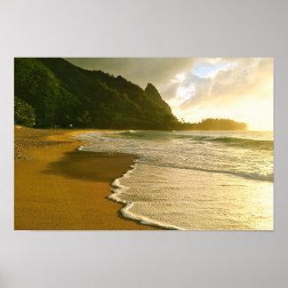 Poster da praia do Co. Haena do surf de Kauai