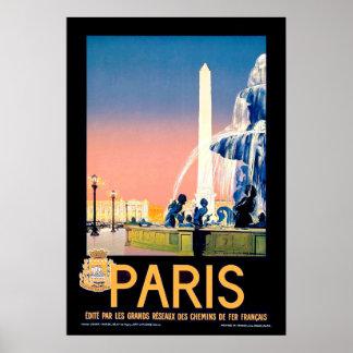 Poster da propaganda do viagem de Paris do vintage