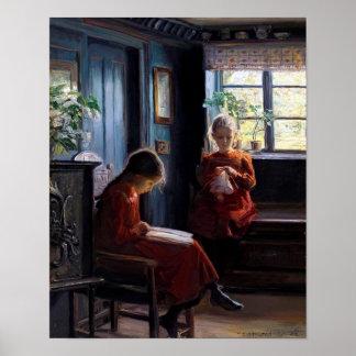 Poster das belas artes do vintage de duas meninas