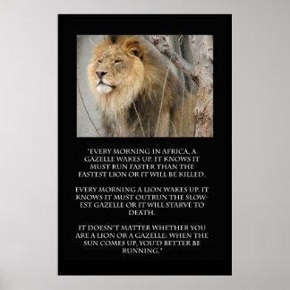 Poster das citações do corredor da gazela do leão