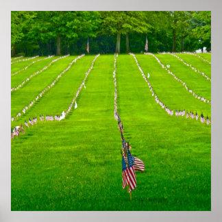 Poster das forças armadas das bandeiras americanas