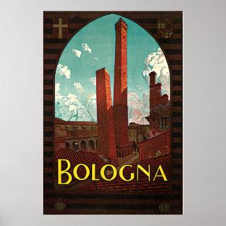 Poster das viagens vintage, Bolonha, Italia