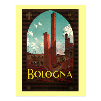 Poster das viagens vintage, Bolonha, Italia Cartao Postal