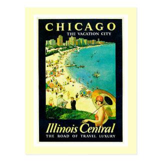 Poster das viagens vintage, Chicago, Illinois Cartões Postais