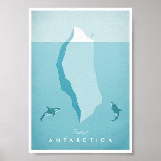 Poster das viagens vintage da Antártica