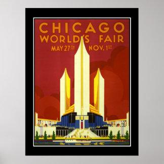 Poster das viagens vintage da feira de mundo de Ch