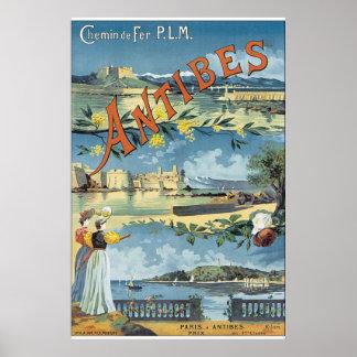 Poster das viagens vintage de Antibes Pôster