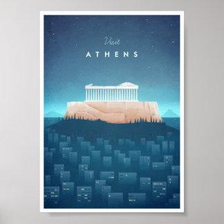 Poster das viagens vintage de Atenas Pôster