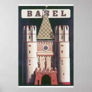 Poster das viagens vintage de Basileia Pôster