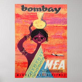 Poster das viagens vintage de Bombaim