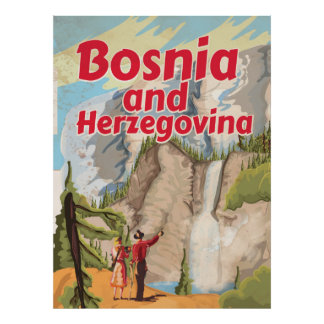 Poster das viagens vintage de Bósnia e de