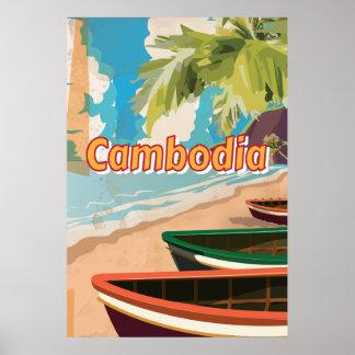 Poster das viagens vintage de Cambodia