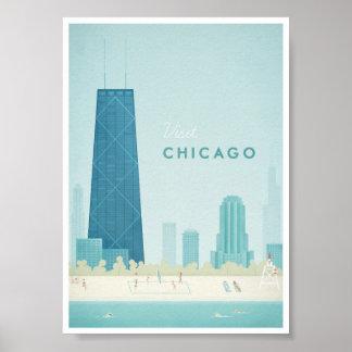 Poster das viagens vintage de Chicago