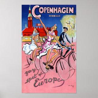 Poster das viagens vintage de Copenhaga restaurado