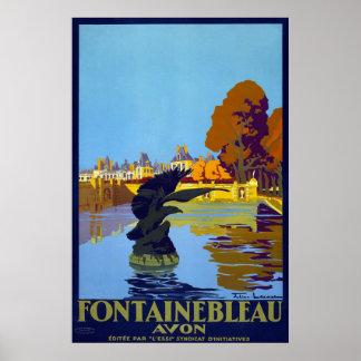 Poster das viagens vintage de Fontainebleau