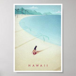 Poster das viagens vintage de Havaí Pôster