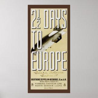 Poster das viagens vintage de Hindenburg do zepeli