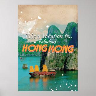 Poster das viagens vintage de Hong Kong