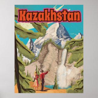 Poster das viagens vintage de Kazakhstan