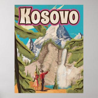 Poster das viagens vintage de Kosovo