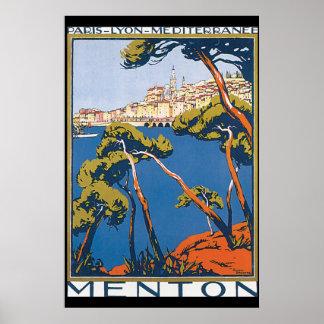 Poster das viagens vintage de Menton Pôster