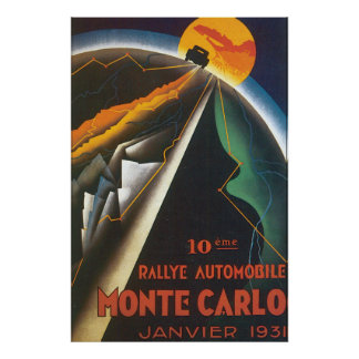 Poster das viagens vintage de Monaco do automóvel Pôster