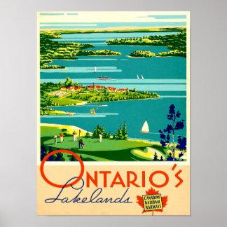 Poster das viagens vintage de Ontário