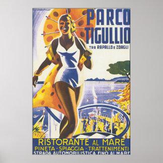 Poster das viagens vintage de Parco Tigullio Pôster