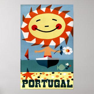 Poster das viagens vintage de Portugal restaurado Pôster