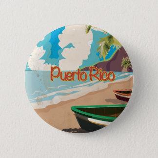 Poster das viagens vintage de Puerto Rico Bóton Redondo 5.08cm
