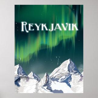 Poster das viagens vintage de Reykjavik