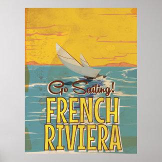 Poster das viagens vintage de Riviera francês
