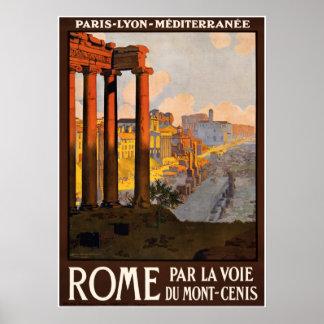 Poster das viagens vintage de Roma Roma