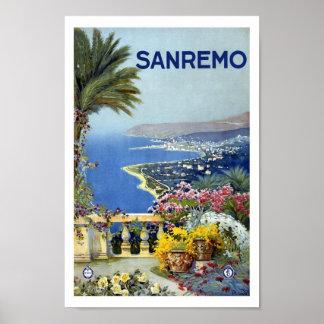 Poster das viagens vintage de Sanremo Italia Europ