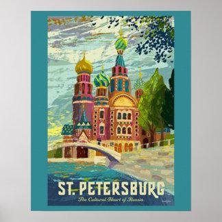 Poster das viagens vintage de St Petersburg