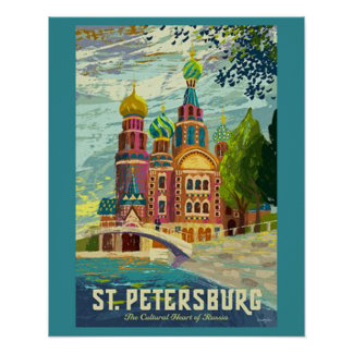 Poster das viagens vintage de St Petersburg Pôster