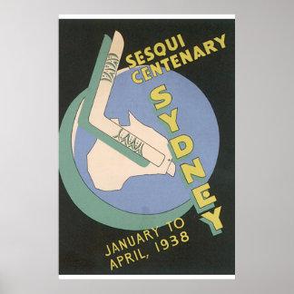 Poster das viagens vintage de Sydney Pôster
