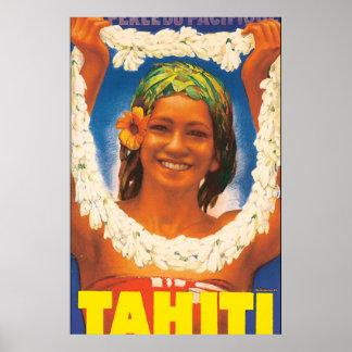 Poster das viagens vintage de Tahiti Pôster