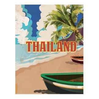Poster das viagens vintage de Tailândia Cartão Postal