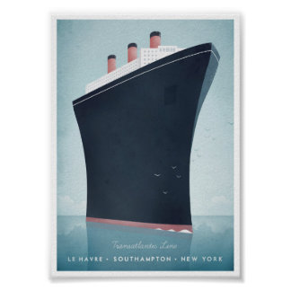 Poster das viagens vintage do forro de oceano