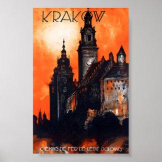 Poster das viagens vintage do Polônia de Krakow