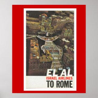 Poster das viagens vintage, EL AL a Roma