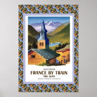 Poster das viagens vintage, France pelo trem