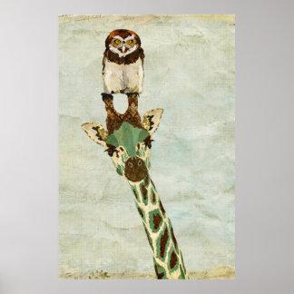 Poster de bronze da arte do girafa & da coruja